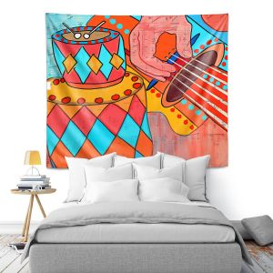 Artistic Wall Tapestry | Dora Ficher - Folk Song | drums guitar music instrument