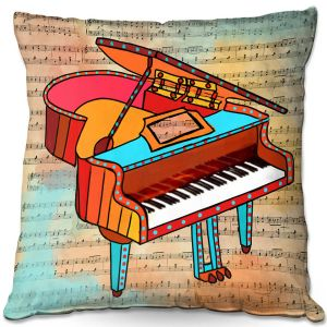Decorative Outdoor Patio Pillow Cushion | Dora Ficher - Grand Piano | music instrument abstract simple