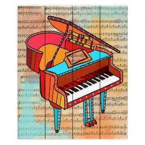 Decorative Wood Plank Wall Art | Dora Ficher - Grand Piano | music instrument abstract simple