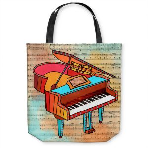 Unique Shoulder Bag Tote Bags | Dora Ficher - Grand Piano | music instrument abstract simple