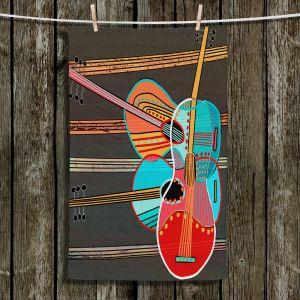 Unique Hanging Tea Towels | Dora Ficher - Guitars Rock | abstract string instrument music