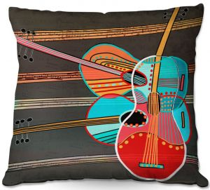 Decorative Outdoor Patio Pillow Cushion | Dora Ficher - Guitars Rock | abstract string instrument music