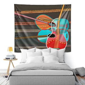 Artistic Wall Tapestry | Dora Ficher - Guitars Rock | abstract string instrument music