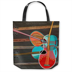 Unique Shoulder Bag Tote Bags | Dora Ficher - Guitars Rock | abstract string instrument music