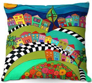 Decorative Outdoor Patio Pillow Cushion | Dora Ficher - Hilltop | City Neighborhood