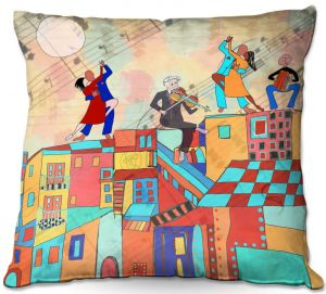 Throw Pillows Decorative Artistic   Dora Ficher - La Boca Baila   city rooftop dancing