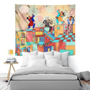 Artistic Wall Tapestry | Dora Ficher - La Boca Baila | city rooftop dancing
