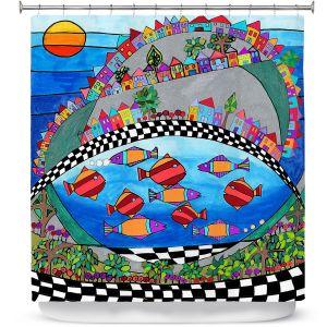 Premium Shower Curtains | Dora Ficher - Las Colinas | City Neighborhood Fish