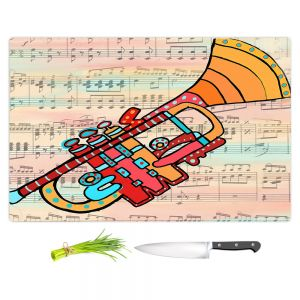 Artistic Kitchen Bar Cutting Boards | Dora Ficher - Lets Play the Trumpet | instrument music brass