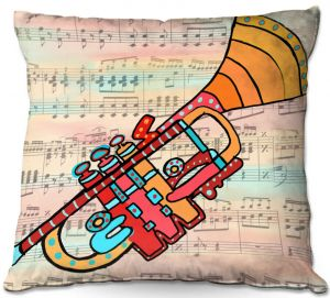 Throw Pillows Decorative Artistic   Dora Ficher - Lets Play the Trumpet   instrument music brass