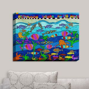 Decorative Canvas Wall Art | Dora Ficher - LIttle Houses By the Sea | Bright Colors Ocean