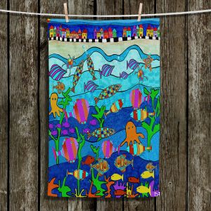 Unique Hanging Tea Towels | Dora Ficher - LIttle Houses By the Sea | Bright Colors Ocean