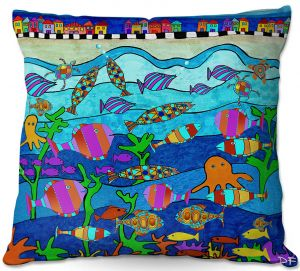 Decorative Outdoor Patio Pillow Cushion | Dora Ficher - LIttle Houses By the Sea