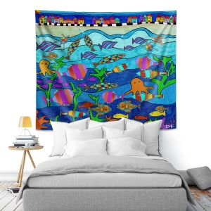 Artistic Wall Tapestry | Dora Ficher - LIttle Houses By the Sea