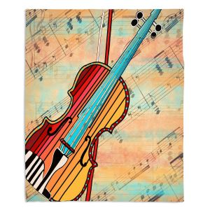 Decorative Fleece Throw Blankets | Dora Ficher - Melody 2 | violin instrument music string
