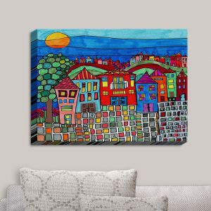 Decorative Canvas Wall Art | Dora Ficher - Mexico Town | Town By the Sea Bright Colors