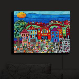 Nightlight Sconce Canvas Light | Dora Ficher - Mexico Town | Town By the Sea Bright Colors