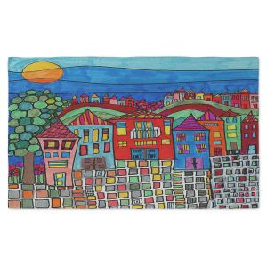 Artistic Pashmina Scarf | Dora Ficher - Mexico Town | Town By the Sea Bright Colors