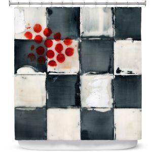 Premium Shower Curtains | Dora Ficher - Not Always Black or White 2 | Abstract stripes squares checkers tile grunge
