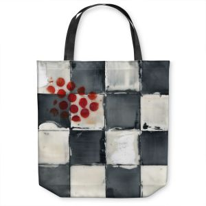 Unique Shoulder Bag Tote Bags | Dora Ficher - Not Always Black or White 2 | Abstract stripes squares checkers tile grunge