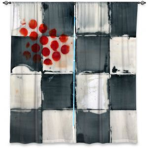 Decorative Window Treatments | Dora Ficher - Not Always Black or White 2 | Abstract stripes squares checkers tile grunge