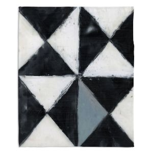 Artistic Sherpa Pile Blankets | Dora Ficher - Not Always Black or White 5 | Abstract shapes checkers triangle grunge