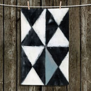 Unique Hanging Tea Towels | Dora Ficher - Not Always Black or White 5 | Abstract shapes checkers triangle grunge