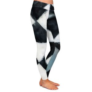 Casual Comfortable Leggings | Dora Ficher - Not Always Black or White 5 | Abstract shapes checkers triangle grunge