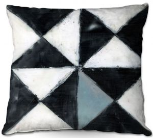 Throw Pillows Decorative Artistic | Dora Ficher - Not Always Black or White 5 | Abstract shapes checkers triangle grunge