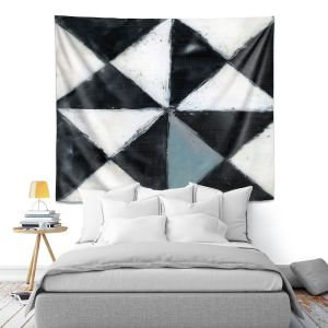 Artistic Wall Tapestry | Dora Ficher - Not Always Black or White 5 | Abstract shapes checkers triangle grunge