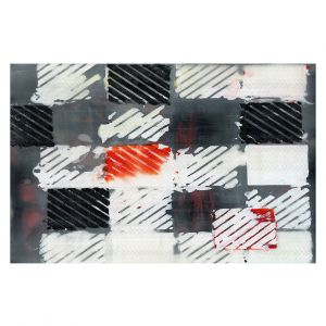 Decorative Floor Covering Mats | Dora Ficher - Not Always Black or White 7 | Abstract shapes checkers tile grunge
