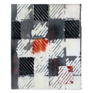 Decorative Fleece Throw Blankets | Dora Ficher - Not Always Black or White 7 | Abstract shapes checkers tile grunge