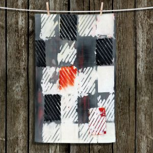 Unique Hanging Tea Towels | Dora Ficher - Not Always Black or White 7 | Abstract shapes checkers tile grunge