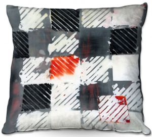 Throw Pillows Decorative Artistic | Dora Ficher - Not Always Black or White 7 | Abstract shapes checkers tile grunge