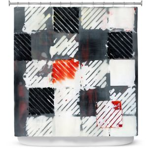Premium Shower Curtains | Dora Ficher - Not Always Black or White 7 | Abstract shapes checkers tile grunge