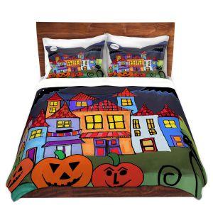 Artistic Duvet Covers and Shams Bedding | Dora Ficher - Pumpkin Cats Bats | Halloween City Neighborhood Trick or Treat