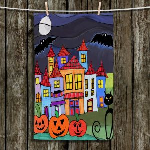 Unique Hanging Tea Towels | Dora Ficher - Pumpkin Cats Bats | Halloween City Neighborhood Trick or Treat