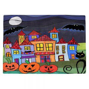 Countertop Place Mats   Dora Ficher - Pumpkin Cats Bats   Halloween City Neighborhood Trick or Treat