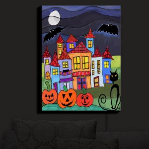 Nightlight Sconce Canvas Light | Dora Ficher - Pumpkin Cats Bats