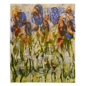 Decorative Fleece Throw Blankets | Dora Ficher - Purple Flowers | Nature Flowers