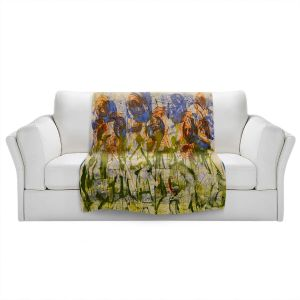 Artistic Sherpa Pile Blankets | Dora Ficher - Purple Flowers | Nature Flowers