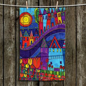 Unique Hanging Tea Towels | Dora Ficher - Purple Mountain | Houses Funky Design Flowers