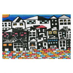 Decorative Floor Covering Mats | Dora Ficher - Red Roof | Architecture buildings cityscape street pattern