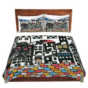 Artistic Duvet Covers and Shams Bedding | Dora Ficher - Red Roof | Architecture buildings cityscape street pattern