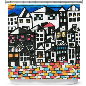 Premium Shower Curtains | Dora Ficher - Red Roof | Architecture buildings cityscape street pattern