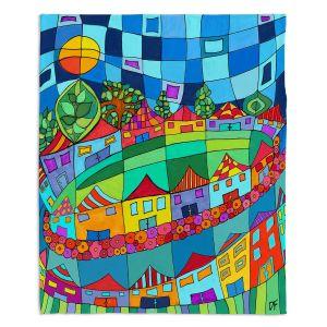 Decorative Fleece Throw Blankets | Dora Ficher - Round and Around | City Neighborhood