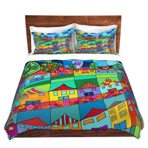 Artistic Duvet Covers and Shams Bedding | Dora Ficher - Round and Around | City Neighborhood