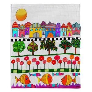 Decorative Fleece Throw Blankets | Dora Ficher - Silver Door | City Neighborhood Fish