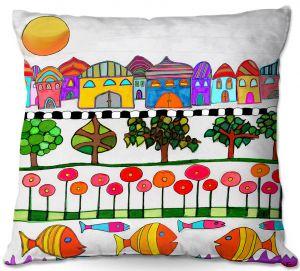 Throw Pillows Decorative Artistic   Dora Ficher - Silver Door   City Neighborhood Fish