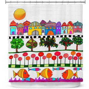 Premium Shower Curtains | Dora Ficher - Silver Door | City Neighborhood Fish